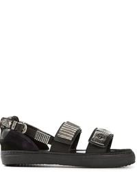 schwarze verzierte flache Sandalen aus Leder von Toga