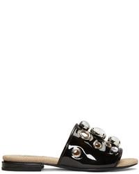 Schwarze verzierte Flache Sandalen aus Leder von Toga Pulla
