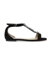 schwarze verzierte flache Sandalen aus Wildleder von Jimmy Choo