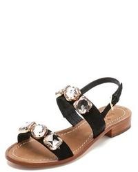 Schwarze verzierte Flache Sandalen aus Wildleder von Kate Spade