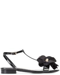 schwarze verzierte flache Sandalen von Lanvin