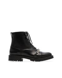 schwarze verzierte flache Stiefel mit einer Schnürung aus Leder von Burberry