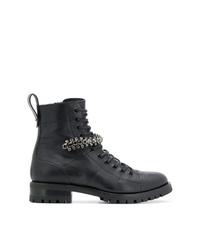 schwarze verzierte flache Stiefel mit einer Schnürung aus Leder von Jimmy Choo