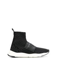 schwarze verzierte hohe Sneakers von Balmain