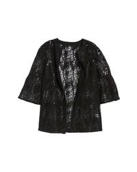 schwarze verzierte Jacke mit einer offenen Front