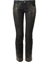schwarze verzierte Jeans