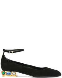 schwarze verzierte Leder Ballerinas von Casadei