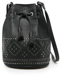 schwarze verzierte Leder Beuteltasche