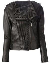 schwarze verzierte Leder Bikerjacke
