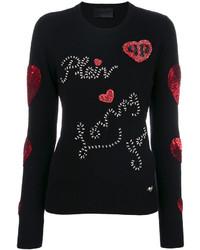 schwarze verzierte Leder Bluse von Philipp Plein