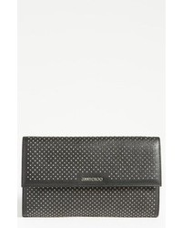 schwarze verzierte Leder Clutch