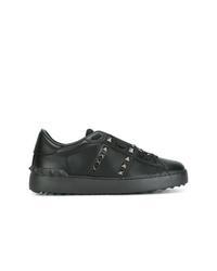 schwarze verzierte Leder niedrige Sneakers von Valentino