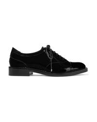 schwarze verzierte Leder Oxford Schuhe von Jimmy Choo