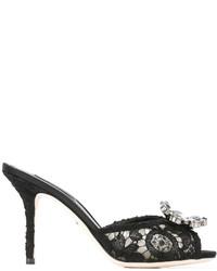 schwarze verzierte Leder Pantoletten von Dolce & Gabbana