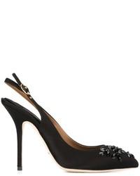 schwarze verzierte Leder Pumps von Dolce & Gabbana