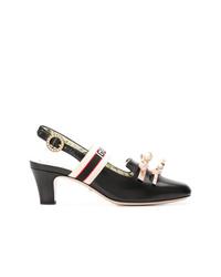 schwarze verzierte Leder Pumps von Gucci