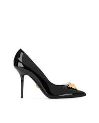 schwarze verzierte Leder Pumps von Versace