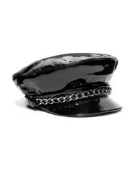 schwarze verzierte Leder Schiebermütze von Eugenia Kim