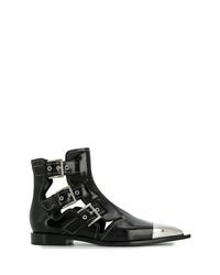 schwarze verzierte Leder Stiefeletten von Alexander McQueen
