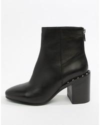 schwarze verzierte Leder Stiefeletten von ASOS DESIGN