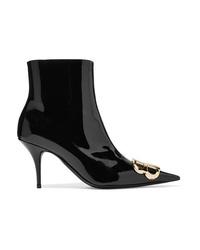 schwarze verzierte Leder Stiefeletten von Balenciaga