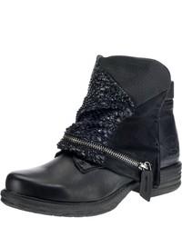 schwarze verzierte Leder Stiefeletten von Dockers by Gerli