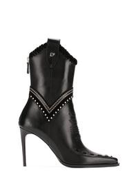 schwarze verzierte Leder Stiefeletten von Dsquared2