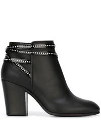 schwarze verzierte Leder Stiefeletten von Giuseppe Zanotti Design