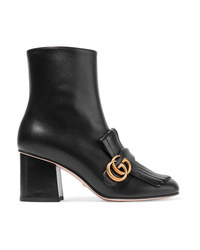 schwarze verzierte Leder Stiefeletten von Gucci