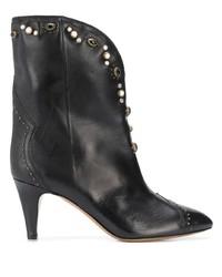 schwarze verzierte Leder Stiefeletten von Isabel Marant