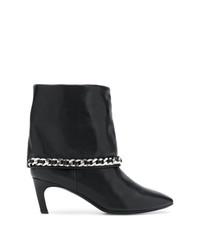 schwarze verzierte Leder Stiefeletten von Marc Ellis