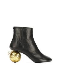 schwarze verzierte Leder Stiefeletten von MM6 MAISON MARGIELA