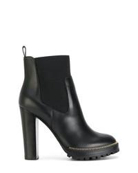 schwarze verzierte Leder Stiefeletten von Sergio Rossi