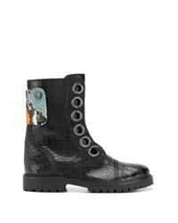 schwarze verzierte Leder Stiefeletten von Zadig & Voltaire