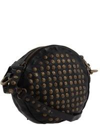 schwarze verzierte Leder Umhängetasche