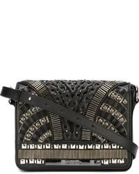 schwarze verzierte Leder Umhängetasche von Alberta Ferretti