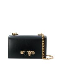 schwarze verzierte Leder Umhängetasche von Alexander McQueen