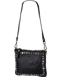 schwarze verzierte Leder Umhängetasche von Campomaggi