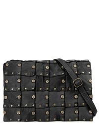 schwarze verzierte Leder Umhängetasche von CLUTY