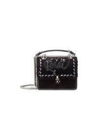 schwarze verzierte Leder Umhängetasche von Fendi