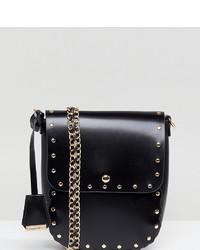 schwarze verzierte Leder Umhängetasche von Glamorous