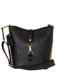 schwarze verzierte Leder Umhängetasche von POON Switzerland