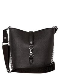 schwarze verzierte Leder Umhängetasche von SILVIO TOSSI