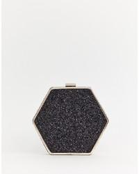 schwarze verzierte Leder Umhängetasche von Warehouse