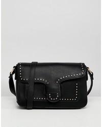 schwarze verzierte Leder Umhängetasche von Yoki Fashion