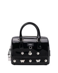 schwarze verzierte Lederhandtasche von Furla