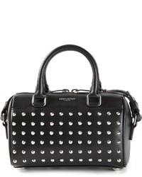 schwarze verzierte Lederhandtasche von Saint Laurent
