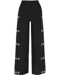 schwarze verzierte Leinen weite Hose von Loewe