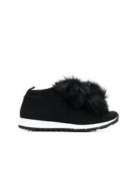 schwarze verzierte niedrige Sneakers von Jimmy Choo