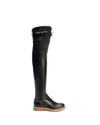 schwarze verzierte Overknee Stiefel aus Leder von Ermanno Scervino